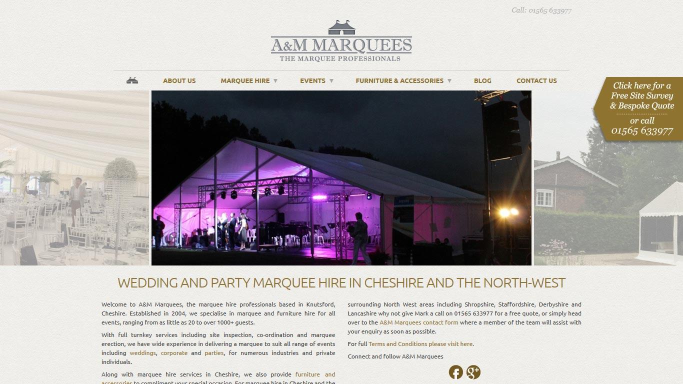 Knutsford Web Design - A&M Marquees