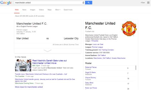 Manchester United Google Search Results