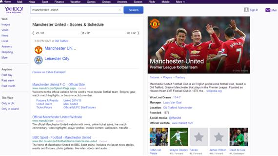Manchester United Yahoo Search Results